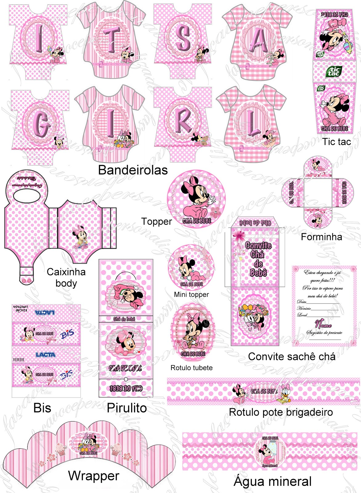Kit festa chá de bebê rosa e branco