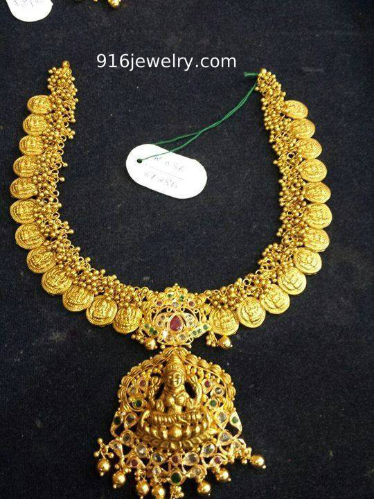 Kasula Necklace With Small Gajjals Sudhakar Gold Works