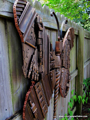 recycled repurposed oversized butterfly art