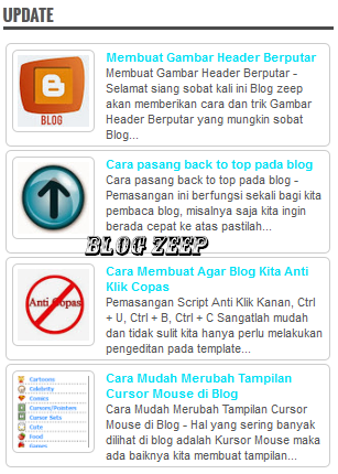 Cara Membuat Recent Posts Blogger Auto Scroll Thumbnails