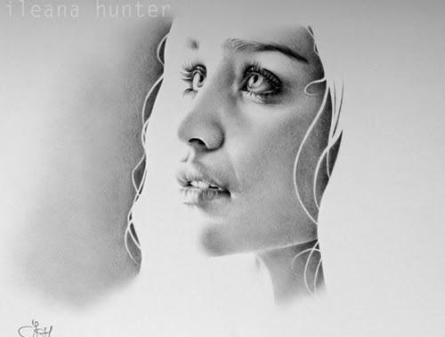 01-Emilia-Clarke-Daenerys-Khaleesi-Ileana-Hunter-Recognise-Portrait-Drawings-Detail-www-designstack-co