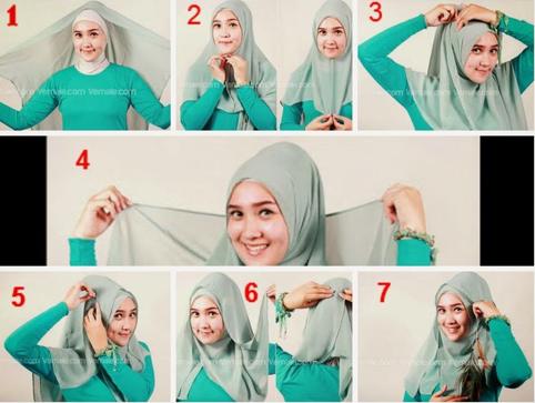 Tutorial jilbab Turquoise yang Manis