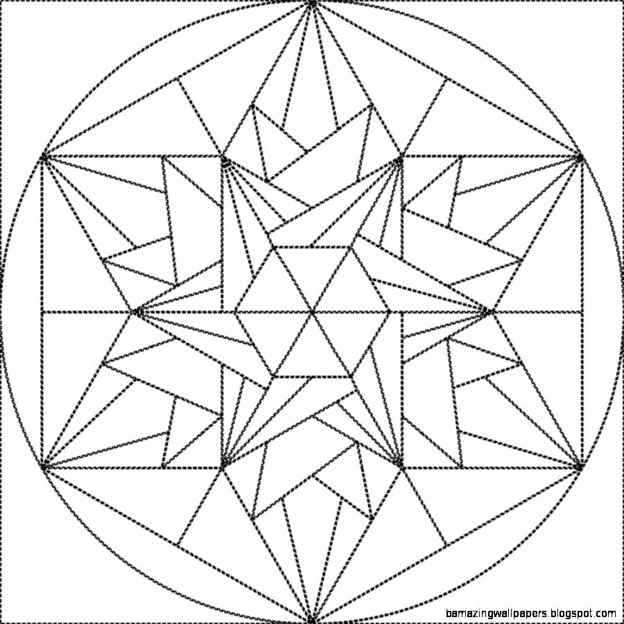Geometric Line Drawing Crystal Sketch Coloring Page