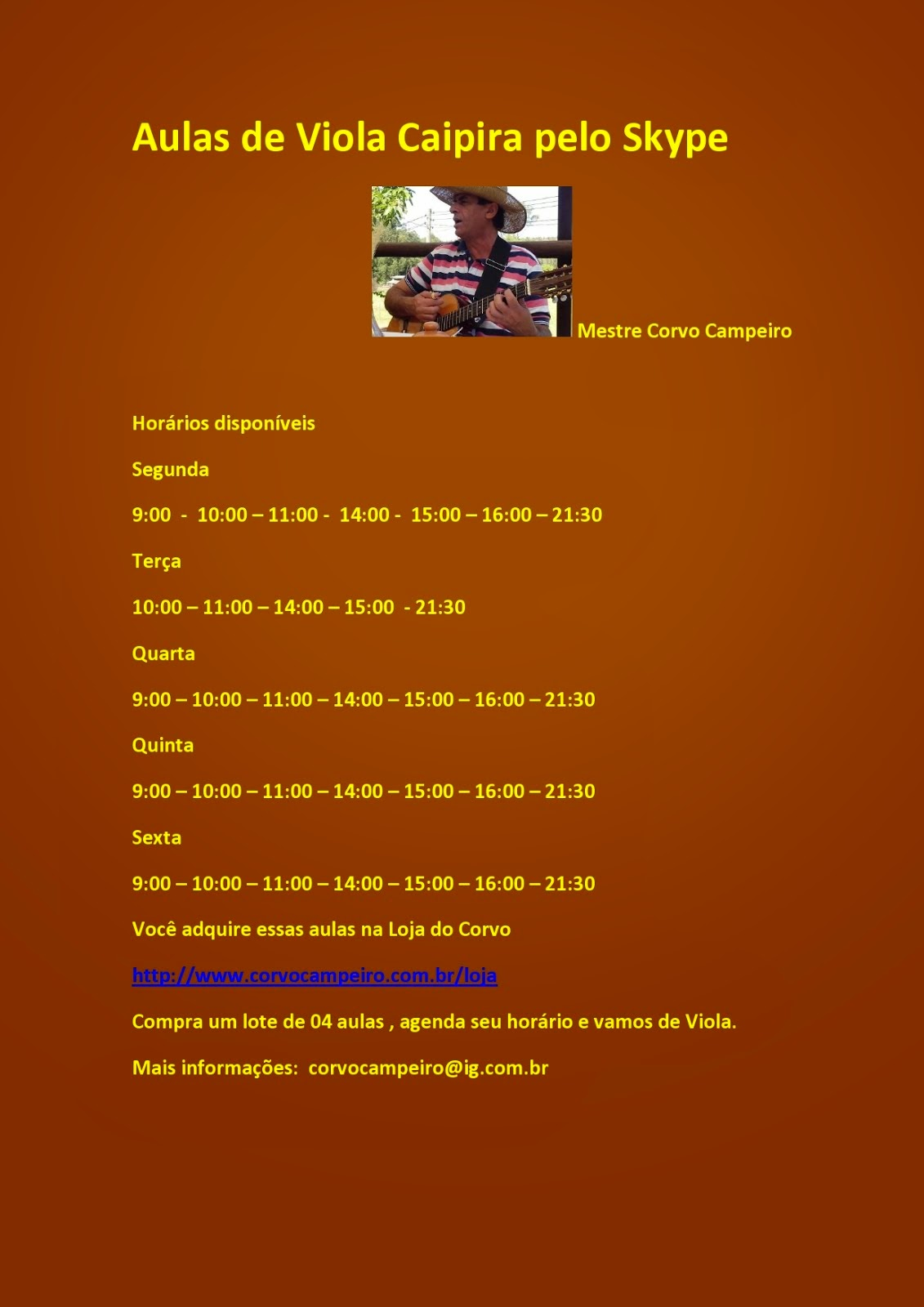 Horarios disponíveis para Aula On line