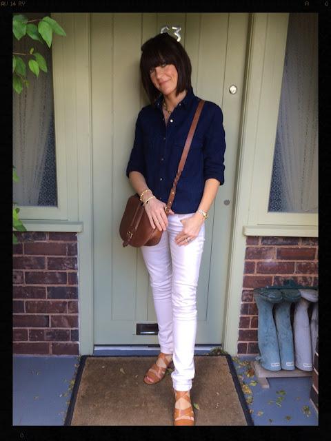 My Midlife Fashion, skinny jeans, double denim, clarks, zara, massimo dutti, tan sandals, saddle bag, ashiana jewellery