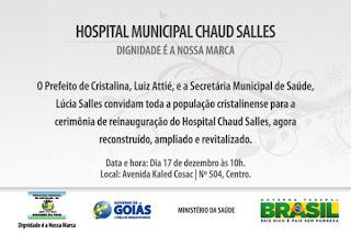 Convite reinauguração hospital de Cristalina