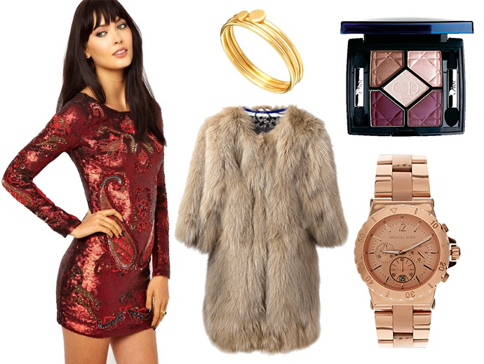 Wednesday Wishes Vol.9 | Let's Get Fabulous featuring Needle and Thread red Sequined dress, Michael Kors Rose Goled Watch, Dior Iridescent eye shadow in petal shine, Simonetta Ravizza fox fur coat and Laura Lee for Asos set of three rings