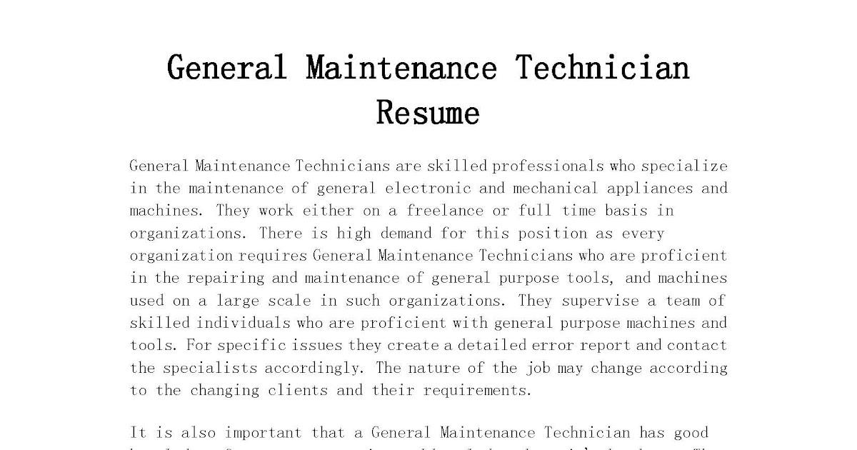 Resume Samples: General Maintenance Technician Resume