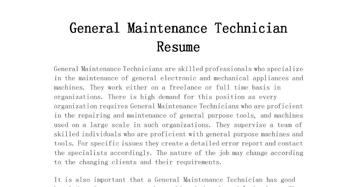 resume samples  general maintenance technician resume