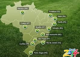 Brazil world cup 2014 stadium map