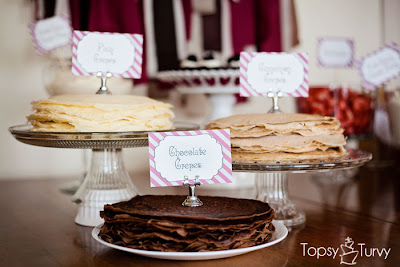 chocolate crepes, crepe recipe, fruit, buffet