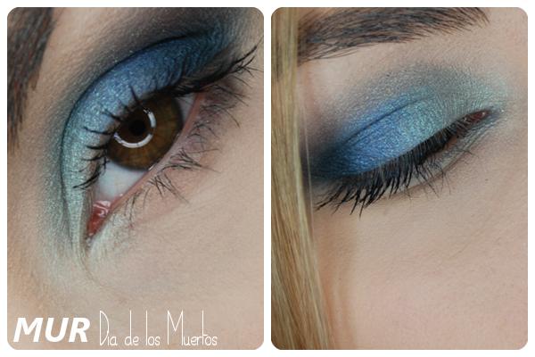 niebieski makijaż paletą MUR