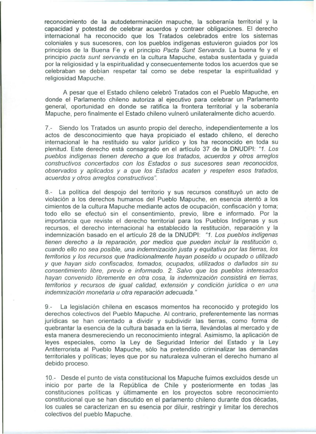 Acuerdos cumbre mapuche Cerro Ñielol 16 de enero