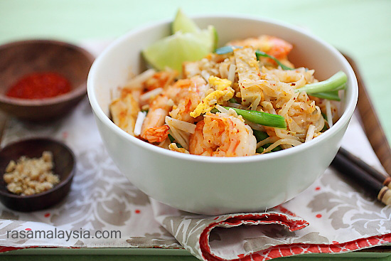 Shrimp Pad Thai On The Lighter Side Recipe — Dishmaps