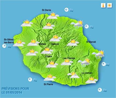 Prévisions météo Réunion pour le Jeudi 01/05/14
