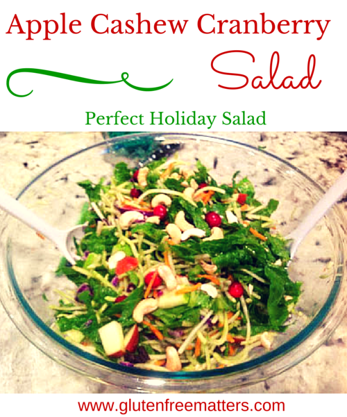 holiday salad with apples, cashews, and greens