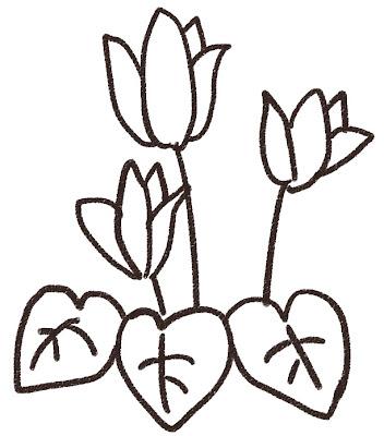 シクラメンのイラスト(花) モノクロ線画