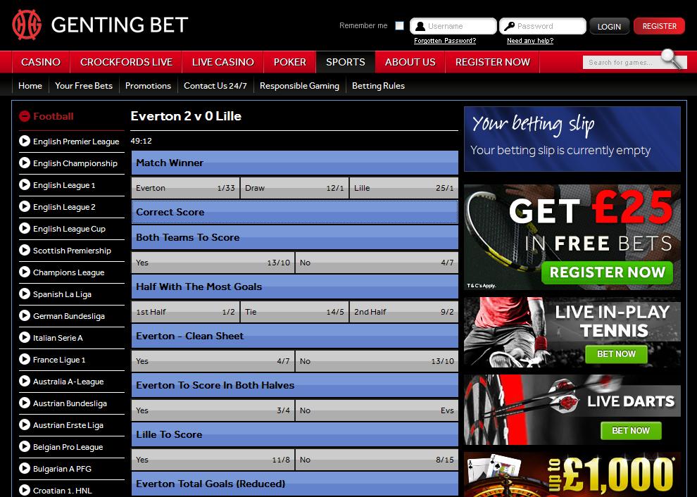 Genting Bet Sportsbook Screen