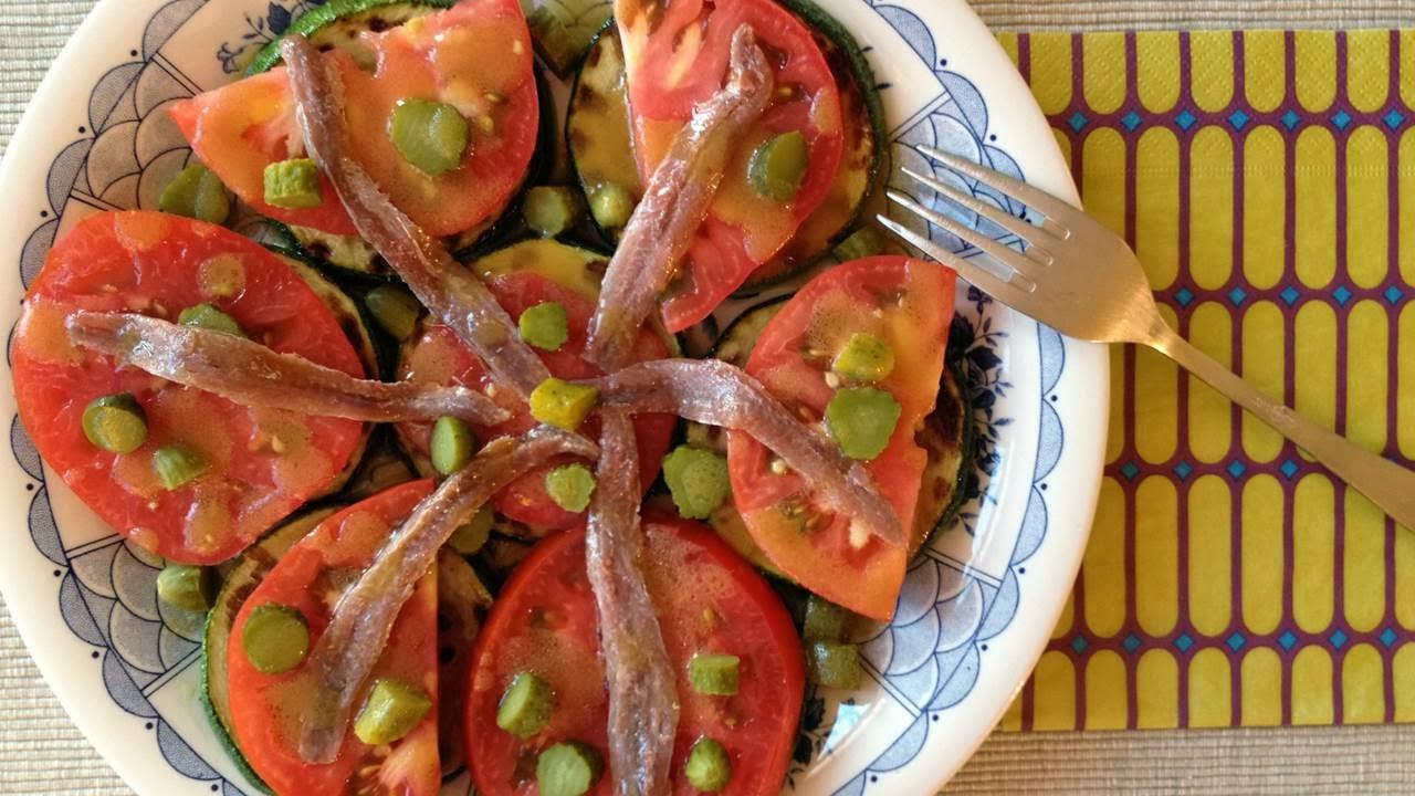 Ensalada de Calabacín, Tomates y Anchoas