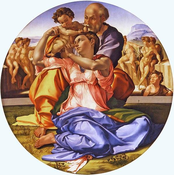http://en.wikipedia.org/wiki/File:Michelangelo-_Tondo_Doni_-_tone_corrected.jpg