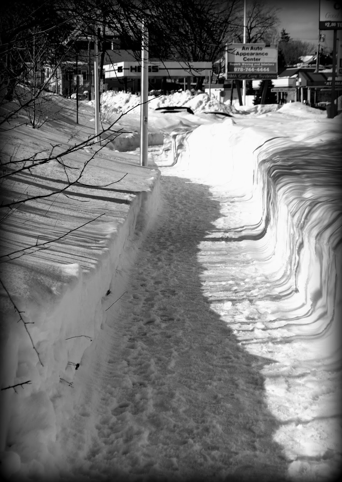 Bridge Street Pathway, Salem, Massachusetts, shadows, snow