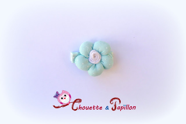 barrette petite fille / fille fleur bleue anti-glisse
