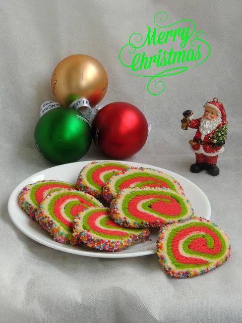 Xmas pinwheel cookies cruted with sprinkles