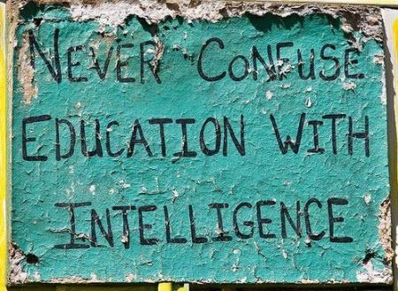 Nunca confundas educación con inteligencia