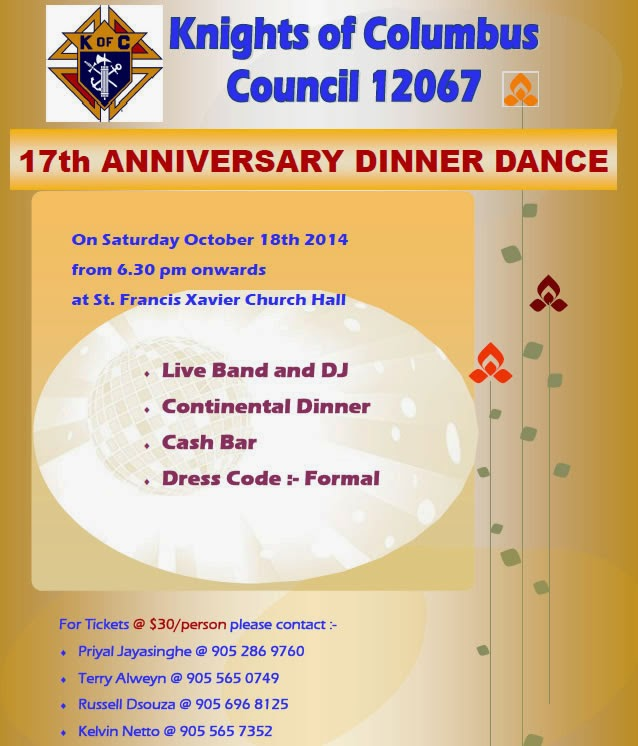 Knights of Columbus – 17th Anniversary Dinner/Dance on Oct 18th, 2014