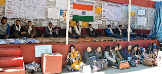 hunger strike by the agitating teachers in front of Lal Kothi in Darjeeling