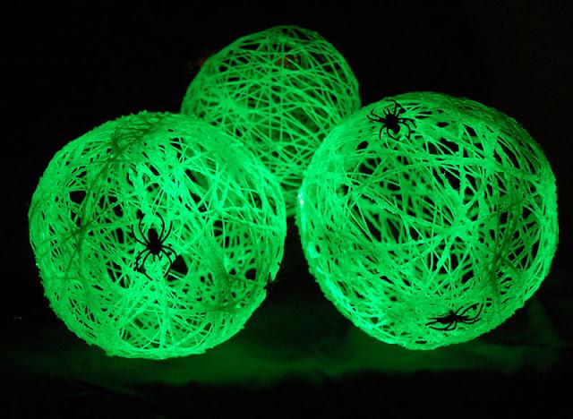 Glow in the dark spider balls for Halloween