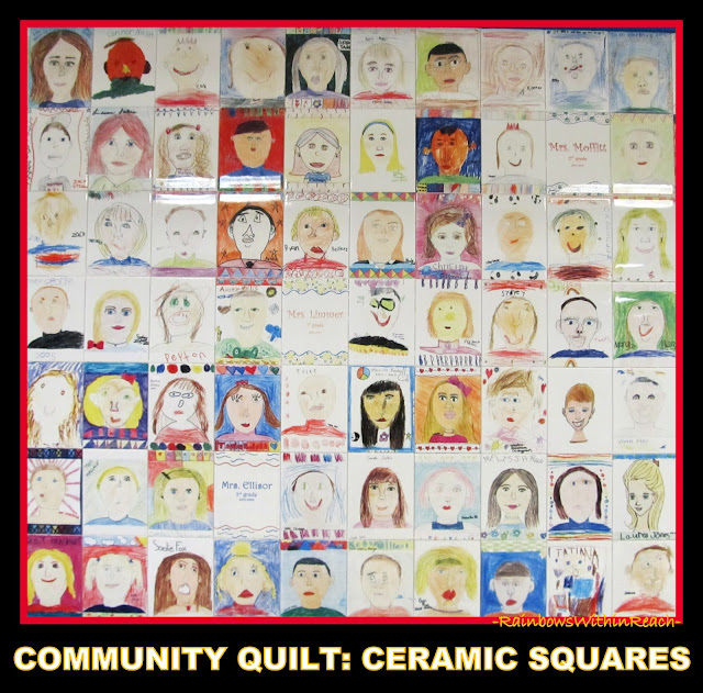 photo of: Community School Ceramic Quilt via RainbowsWithinReach Quilt RoundUP