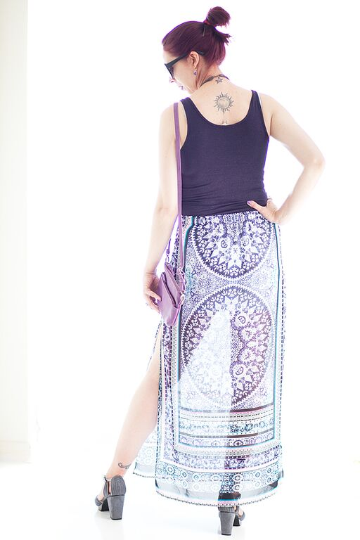 My Style: Express Purple Print Skirt, RW & Co. Tank Top, Nice Things Clutch from Heel Boy, Urban Outfitters Shoes, Suzy Shier Flower Necklace, styletips, shopping, clearance, sale, summer, end of season, outfit, ideas, OOTD, The Purple Scarf, Melanie.Ps, Toronto, Ontario, Canada, Photo Credit: Ardean Peters