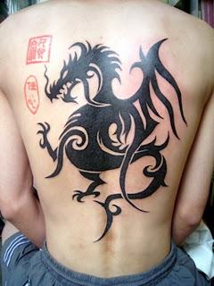Tribal Dragon Tattoo Design on Back