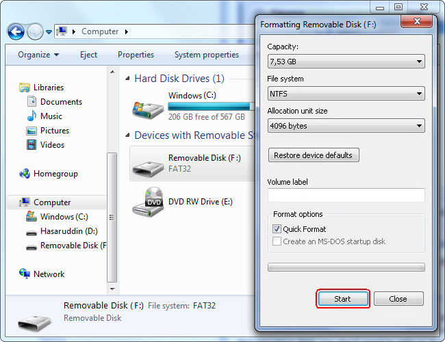 how to format c drive and install windows 8