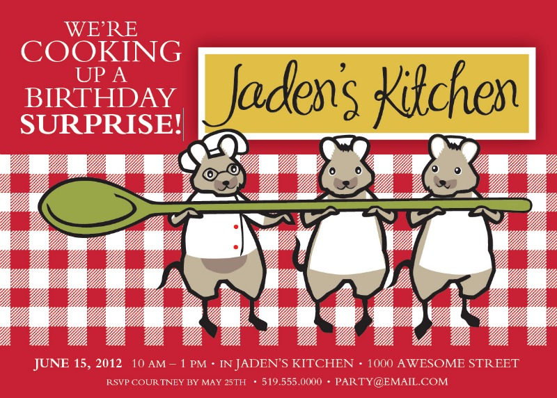 Little Chef Cooking Party invite