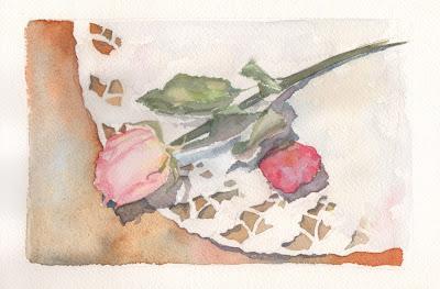 роза, акварель