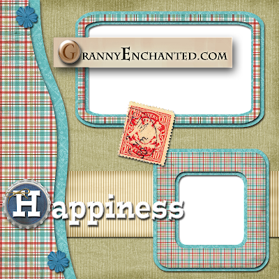 Free Happiness Plaid Left Digi Scrapbook Quick Page