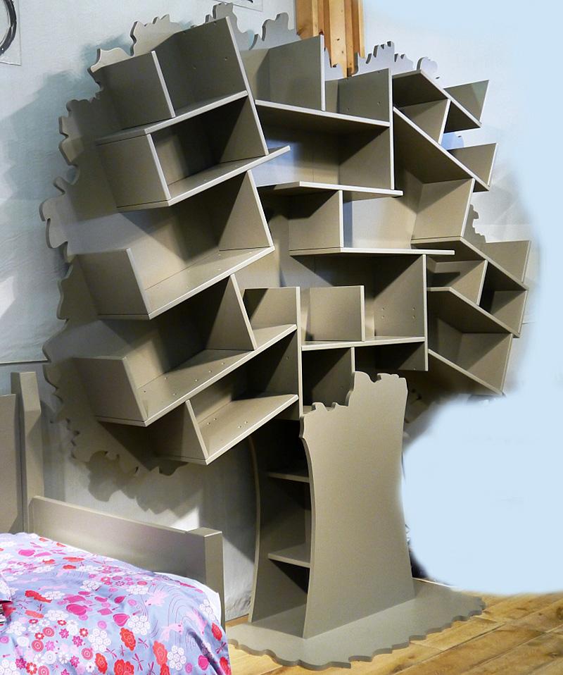 Three New Tree Bookshelves Named Tess, Sam and Louane by Christophe Boulin.