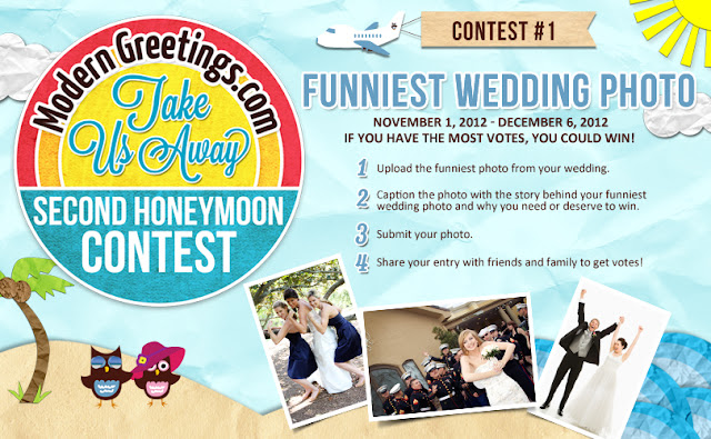 Win A Second Honeymoon with ModernGreetings.com Take Us Away funniest Wedding Photo contest