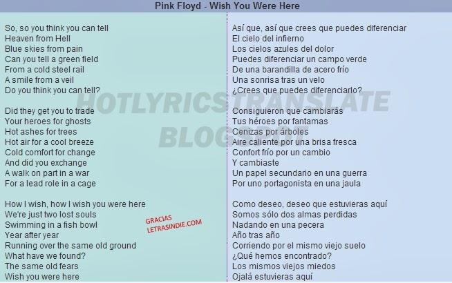 TOP LYRICS TRANSLATED CANCIONES TOP TRADUCIDAS Pink Floyd
