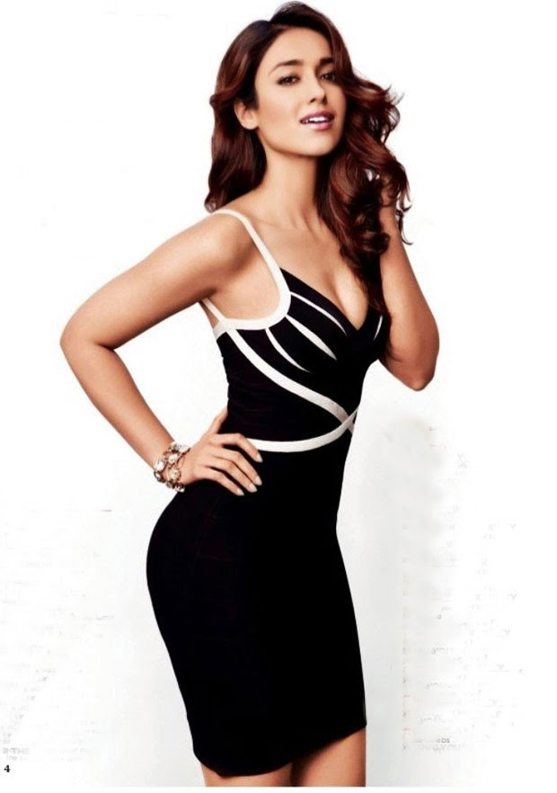 Ileana-DCruz-in-tight-fitted-black-mini-dress-Womens-Health-Magazine