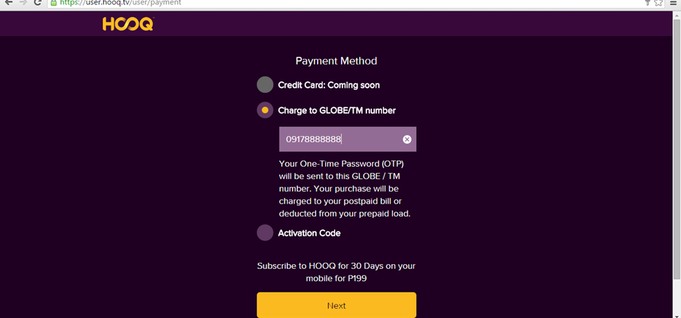 hooq mode of payment
