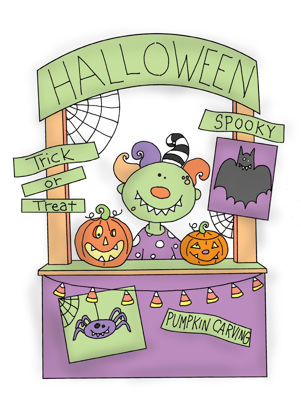 Free Dearie Dolls Digi Stamps: Monster Halloween Booth