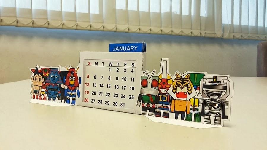 Calendar 2014 - Cute Cartoon Character Paper Toy