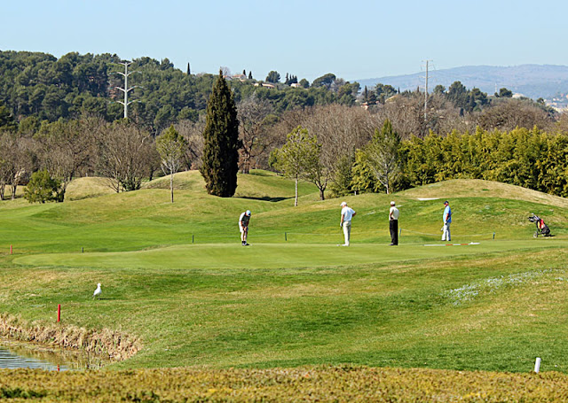 several golfers on the golf course