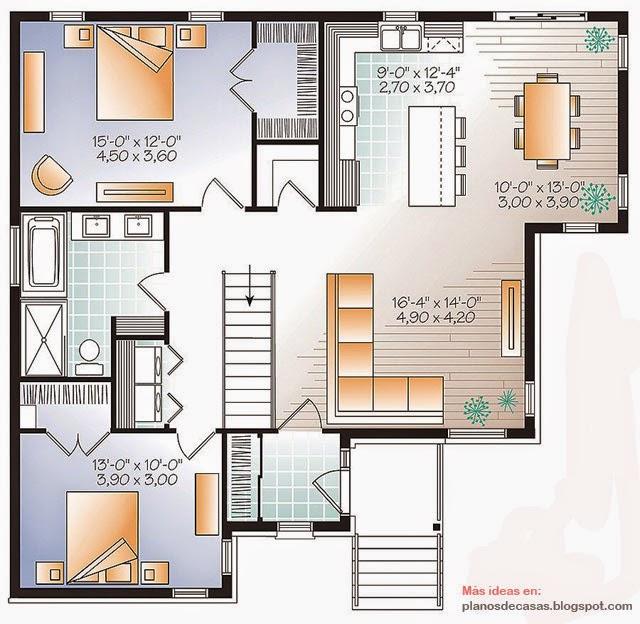Plano de casa moderna de 115 m2 planos de casas gratis y for Planos de casas de campo modernas