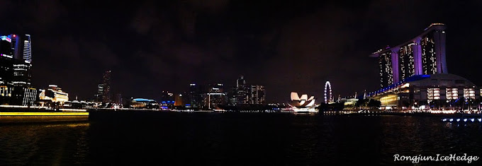 Panorama night view from The Promontory @ Marina Bay