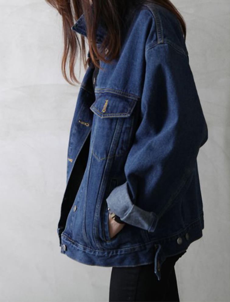 Oversized denim jacket, tomboy style