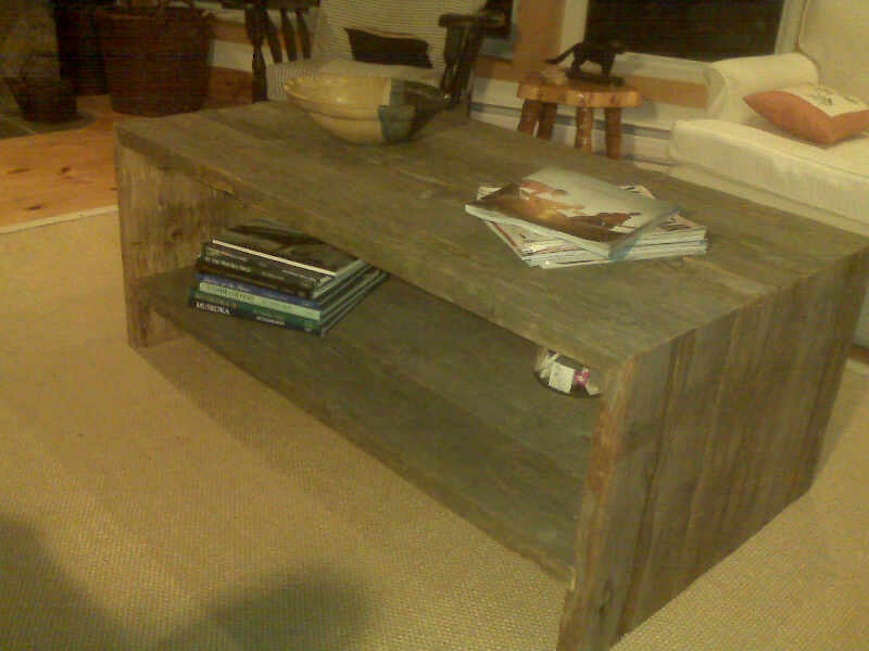 Restored Wood Coffee Table 54 X 30 Cedar Restored Dock Boards *Starting  From $600.00. Height 18 Inches. Shelf Height 6 Inches. Width 54 Inches
